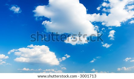 Panorama of blue cloudy sky (can be used how background or wallpaper) - stock photo