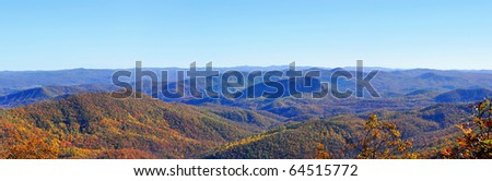 panorama of Blue Ridge Mountains with fall foliage - stock photo