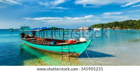 Panorama of boat in Sihanoukville, Cambodia - stock photo