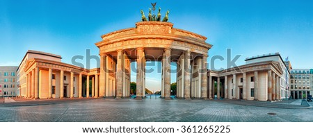 Panorama of Brandenburg Gate during the sunrise in Berlin, Germany - stock photo