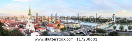 Panorama of Bratislava at sunset. Slovakia - stock photo