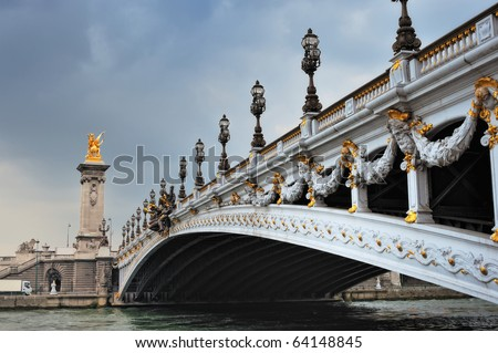 Panorama of  bridge Alexander III in Paris. France - stock photo