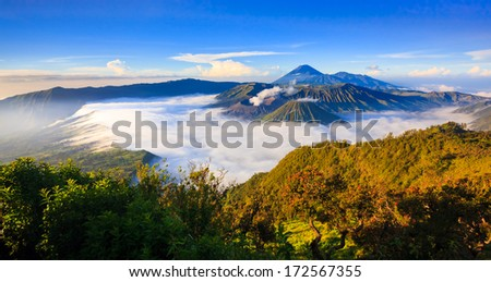 Panorama of Bromo volcano at sunrise,Tengger Semeru national park, East Java, Indonesia - stock photo