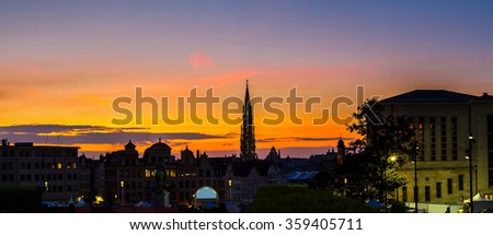 Panorama of Brussels city center at summer night
