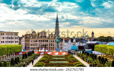 Panorama of Brussels in a beautiful summer day - stock photo