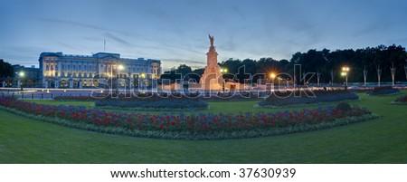 Panorama of Buckingham palace in London - stock photo