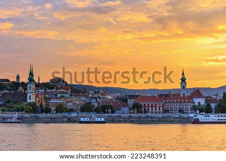 Panorama of Budapest at sunset, Hungary - stock photo