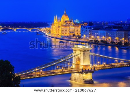 Panorama of Budapest, Hungary, with the Chain Bridge and the Parliament - stock photo