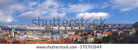 Panorama of Budapest in Hungary - stock photo