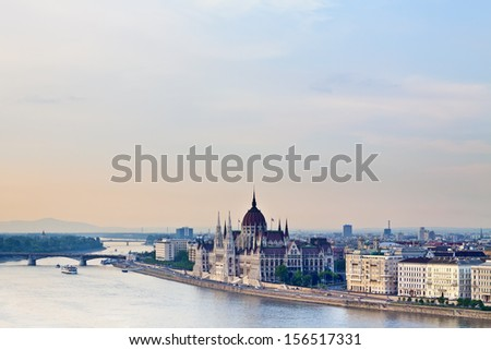 panorama of Budapest with Danube and Parliament - stock photo