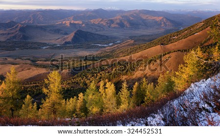 Panorama of Bukhtarma River valley at sunset, Eastern Kazakhstan