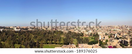 Panorama of Cairo in 2005, from the Giza Pyramids area. Cairo, Egypt. - stock photo