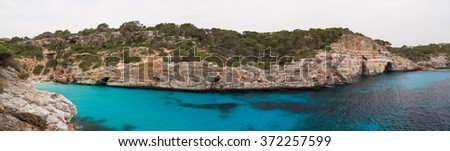 Panorama of Cala des Moro, Mallorca, Spain - stock photo
