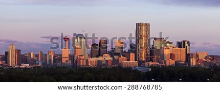 Panorama of Calgary at sunrise. Calgary, Alberta, Canada