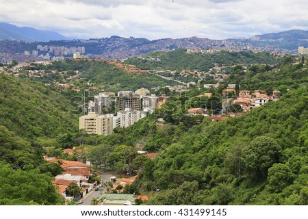 Panorama of Caracas city, capital city of Venezuela. - stock photo