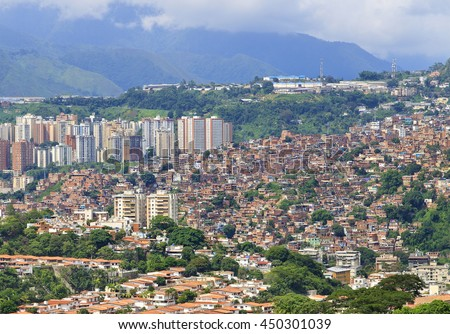 Panorama of Caracas city, capital city of Venezuela. Slums are seen on the hillside.