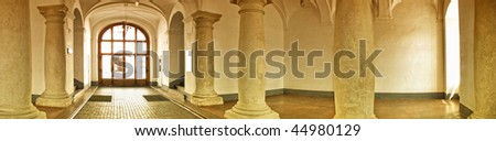 Panorama of castle entrance - stock photo