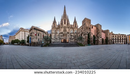 Panorama of Cathedral of the Holy Cross and Saint Eulalia in the Morning, Barri Gothic Quarter, Barcelona, Catalonia