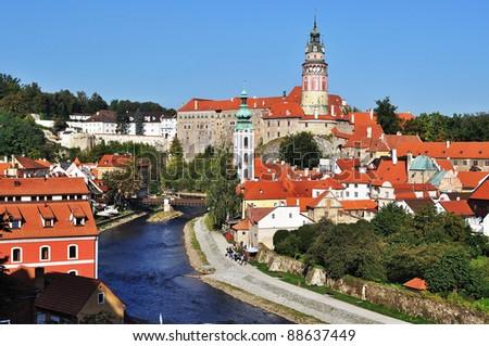Panorama of Cesky Krumlov.Czech republic - stock photo