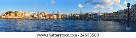 Panorama of Chania harbor - stock photo