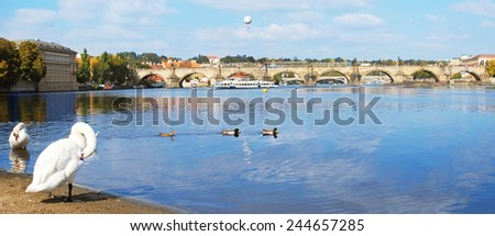 Panorama of Charles bridge, Prague, Czech Republic - stock photo