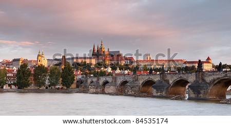 Panorama of Charles bridge, Prague, Czech Republic - stock photo