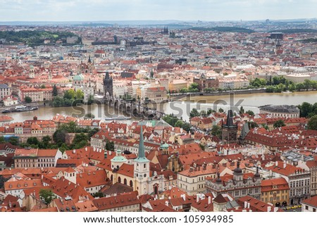 Panorama of Charles bridge, View From Castle, Prague, Czech Republic