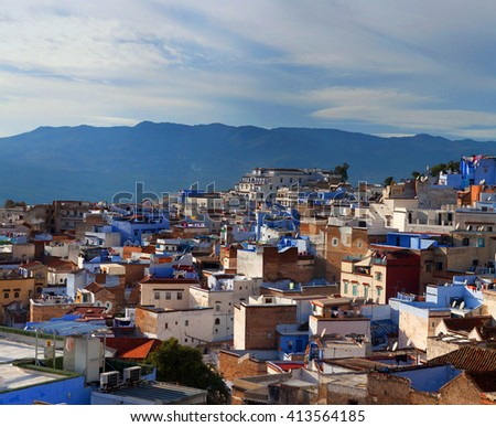 Panorama of Chefchaouen Medina in Morocco, Africa. It is the chief town of the province of the same name, and is noted for its buildings in shades of blue.