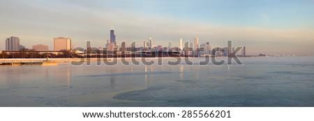 Panorama of Chicago at sunrise. Chicago, Illinois, USA. - stock photo