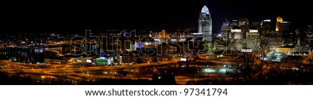 Panorama of Cincinnati Skyline and Surrounding Neighborhoods at Night