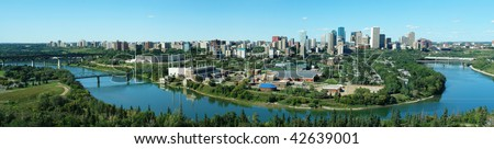 Panorama of city downtown and the north saskatchewan river valley, edmonton, alberta, canada - stock photo