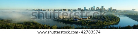 Panorama of city downtown and the north saskatchewan river valley in an autumn morning, edmonton, alberta, canada - stock photo