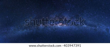 Panorama of clearly milky way in Bromo, Indonesia  - stock photo