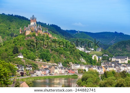 Panorama of Cochem with Imperial castle - stock photo