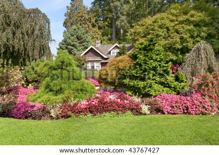 panorama of colorful blooming park - stock photo