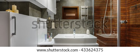 Panorama of contemporary and stylish designed bathroom