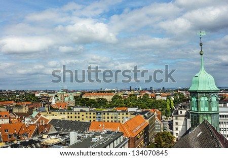 Panorama of Copenhagen with Rosenborg slot, Denmark. - stock photo