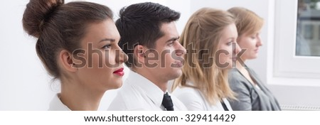 Panorama of corporation workers during professional business training - stock photo