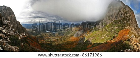Panorama of Cradle Mountain, Tasmania, Australia - stock photo