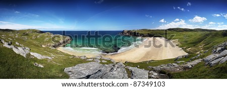 Panorama of Dalmore beach on Lewis, Scotland in summer sun - stock photo