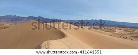 Panorama of Death Valley Sand Dunes from the Top