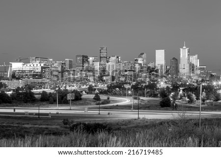 Panorama of Denver skyline long exposure at twilight in black and white - stock photo