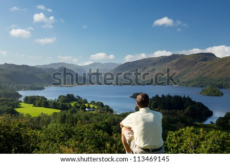 Panorama of Derwentwater in English Lake District from Castlehead viewpoint in early morning - stock photo