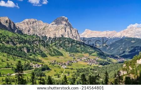 Panorama of Dolomiti Mountains and Badia Valley, Trentino Alto Adige, Italy - stock photo