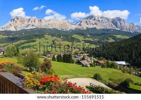 Panorama of Dolomiti Mountains from La Villa village on sunny summer day, Trentino Alto Adige, Italy - stock photo
