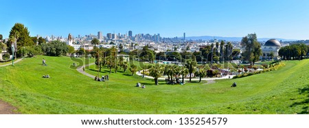Panorama of Dolores Park, with Downtown San Francisco in Background - stock photo