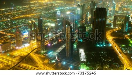 Panorama of down town Dubai city - UAE - stock photo