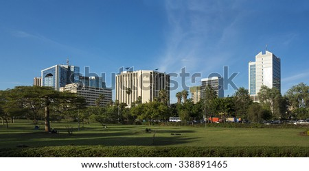 panorama of downtown area of Nairobi, Kenya - stock photo