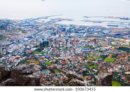 Panorama of downtown Cape Town's city with coastline and dock - stock photo