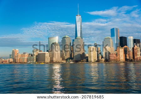 Panorama of downtown Manhattan - stock photo
